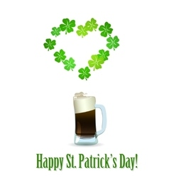 St patricks day beer with heart shamrock vector