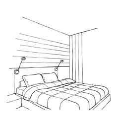 Bedroom modern interior vector