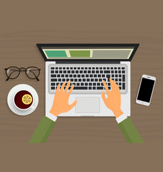 Modern person hands working on the laptop sitting vector