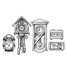 Old clocks vector