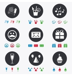 Party celebration birthday icons music notes vector