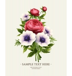 Greeting card with anemone and peony flower vector