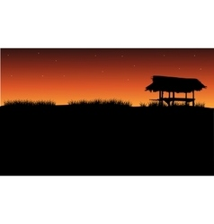 Silhouette of gazebo and grass vector