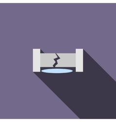 Water pipe broken icon flat style vector
