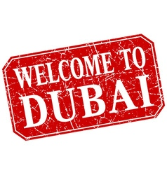 Welcome to dubai red square grunge stamp vector