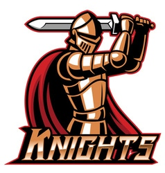 Knight mascot with sword vector