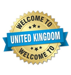 United kingdom 3d gold badge with blue ribbon vector