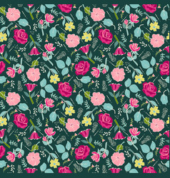 Background with flowers and herbs on dark green vector
