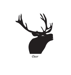 Black silhouette of a deer on vector image