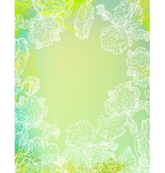 Card with iris flowers on green watercolour vector image vector image