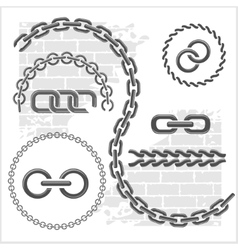 Chains set - icons parts circles of chains vector