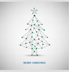 Christmas card with abstract tree of thin lines vector