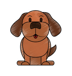 Color pencil cartoon front view dog animal sitting vector