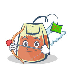Cupid tea bag character cartoon vector