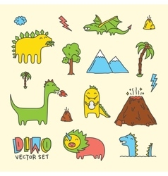 Dino cartoon set vector