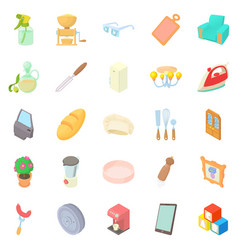 facilities icons set cartoon style vector image