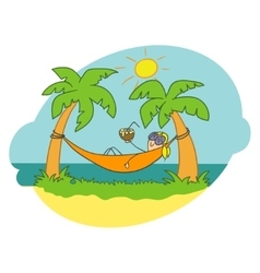 Girl in a hammock Doodle vector image