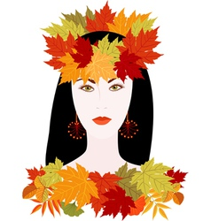 Girl of autumn vector