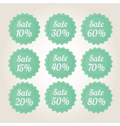 Green sale badge stickers set vector image