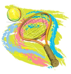 Hand drawn of tennis racket vector