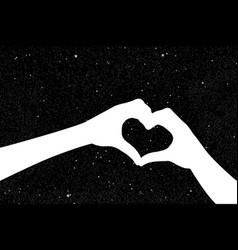 hands in shape of heart vector image
