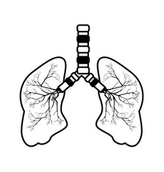 Human lungs isolated icon vector