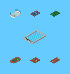 Isometric competition set of ice games run vector