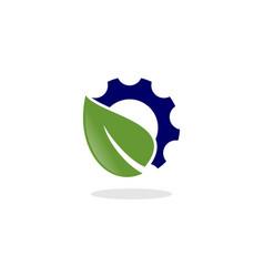 leaf gear logo vector image