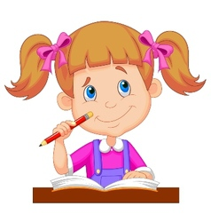 Little girl cartoon studying vector image