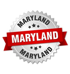 Maryland round silver badge with red ribbon vector