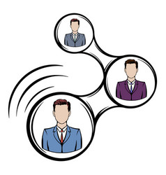 Network connections between people icon cartoon vector