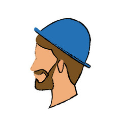 Profile bearded man young wear blue hat character vector