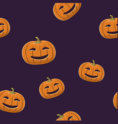 seamless pattern of smiling scary pumpkin vector image