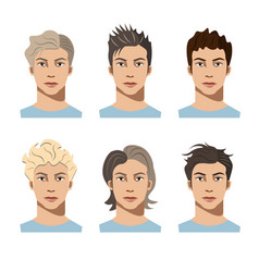 set different hair style young men vector image