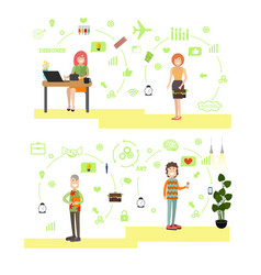 set of creative team people in flat style vector image vector image