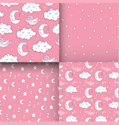 set of seamless childish pattern with demilune vector image vector image