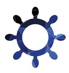 Ship wheel icon abstract triangle vector