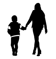 Silhouette of woman and child walking vector