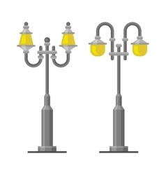 Street Lamp Light Posts Set on White Background vector image vector image