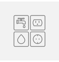 Utilities signs electricity and water line icon vector image