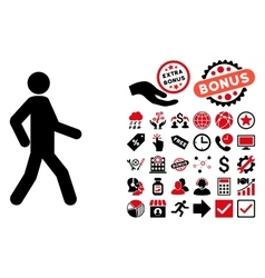 Walking Man Flat Icon with Bonus vector image vector image