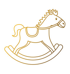 wooden horse toy rocking game icon vector image