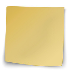 Yellow sticky note with turned up corners vector