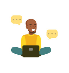Young smiling black man sitting on the floor vector