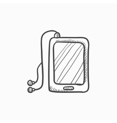 Tablet with headphones sketch icon vector