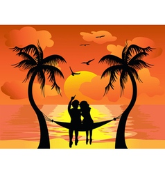 Lover watching sunset vector