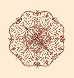 Round decorative floral mandala element on beige vector