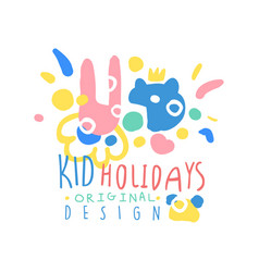 Kid holidays logo template original design vector