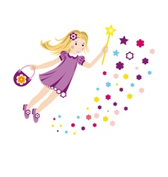 Colorful with a little fairy vector