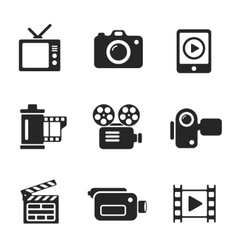 Set computer icons of photo and video vector